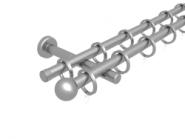 Magnetgarnitur mit Kugel  2-lfg. Edelstahlfarbig